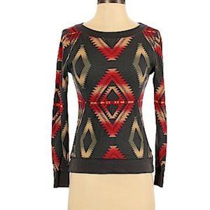 Chaps Boho Chevron patterned top